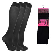 Ladies 3pack Blk Trouser Socks (size Uk4-7) (SK475)